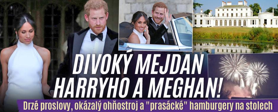 """Divoký mejdan po svatbě Harryho a Meghan: Drzé proslovy, okázalý ohňostroj a """"prasácké"""" hamburgery na stolech!"""