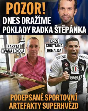 První aukce pokladů Radka Štěpánka už dnes! Vydražte dres Ronalda a raketu Lendla