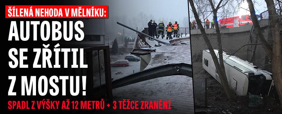 Šílená nehoda v Mělníku: Autobus spadl do hloubky několika metrů, na místě jsou zranění