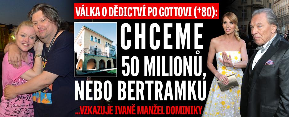 Válka o dědictví po Gottovi? Chceme 2 miliony eur, nebo Bertramku, říká manžel Dominiky!