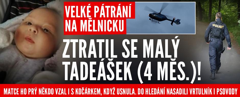 Policisté na Mělnicku hledají malého Tadeáška: Miminko prý matce zmizelo i s kočárkem