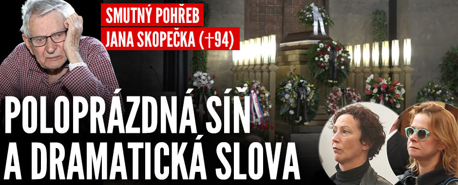 Poslední rozloučení se Skopečkem (†94): Poloprázdná síň, dramatický proslov Macháčkové a láhev whiskey pod rakví!