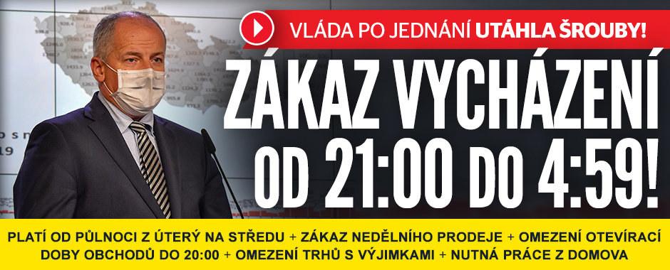 Zákaz nočního vycházení v ČR! A obchody musí zavřít v neděli. Opatření vlády přehledně